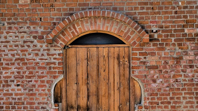 Door, Wooden, Brick, Factory, Old, Architecture