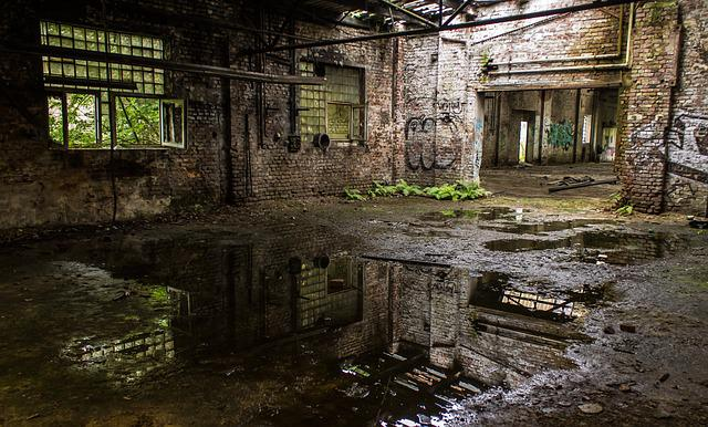 Leave, Factory Hall, Lost Places, Reflections