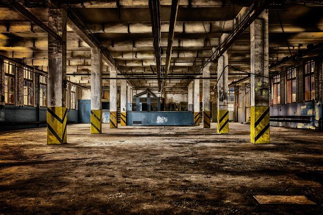 Factory, Hall, Abandoned, Ruin, Pillars, Factory Hall