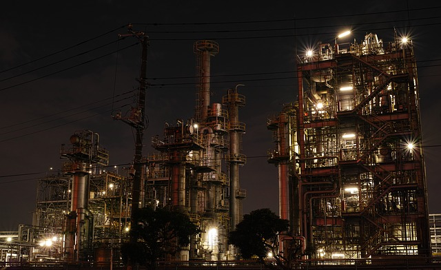 Factory, Night View, Industrial, Pipe