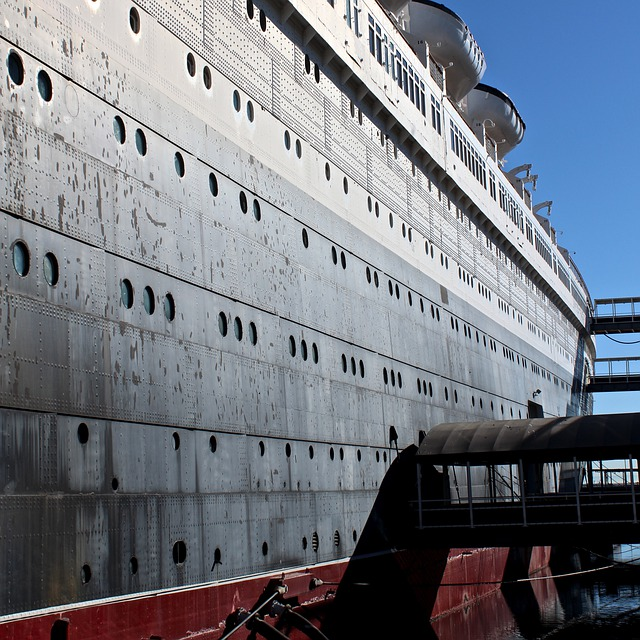 Ship, Faded Glory, Ocean Liner, Antique, Queen Mary