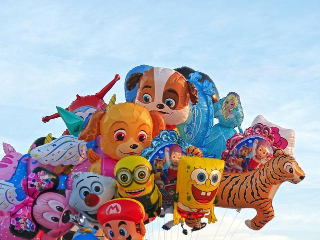 Fair, Balloons, Sky, Children's Characters, Fun
