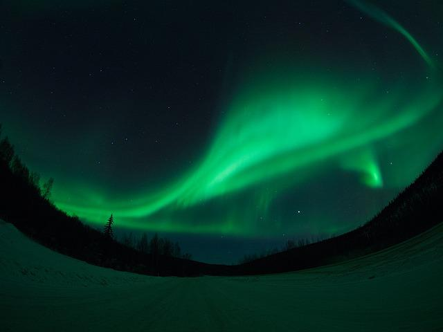 Aurora, Alaska, Fairbanks, Snow, Sky, Road, Night Sky
