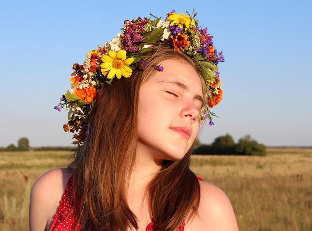 Girl, Baby, Wreath, Flowers, Smile, Joy, Rite, Fairy