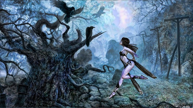 Ravens, Crown, Woman, Fairy, Garden, Fairytale