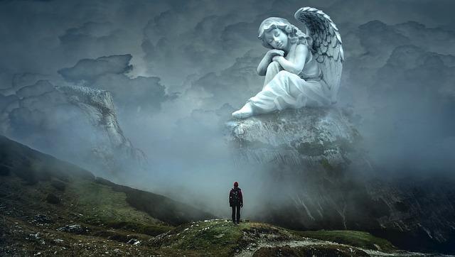 Fantasy, Holy, Angel, Mountain, Fairytale, Mystical