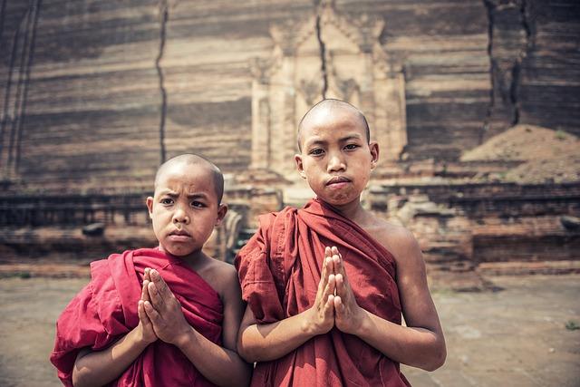 Boy, Monks, I Pray, Asia, Burma, Faith, A Blessing