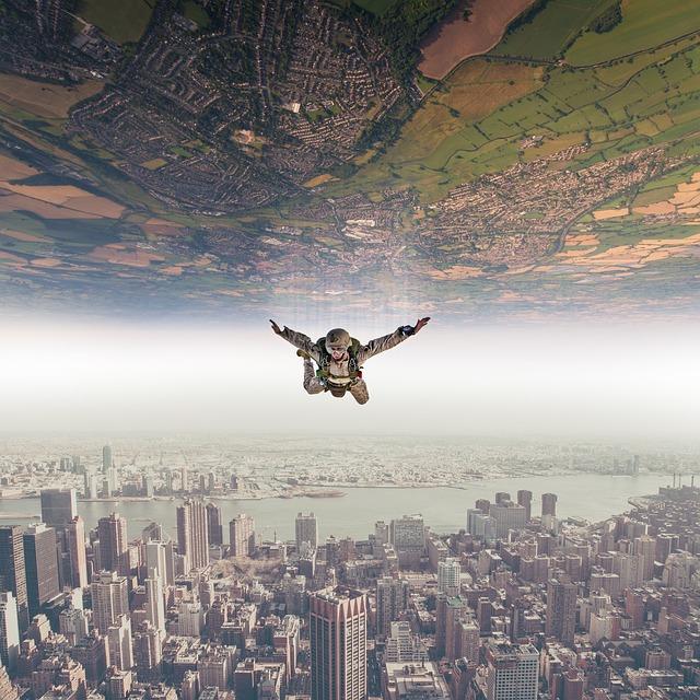 Parachutist, Fall, Sky, Landscape, Nature, Flying