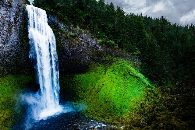Cascade, Fall, Landscape, Leaf, Moss, Motion, Mountain