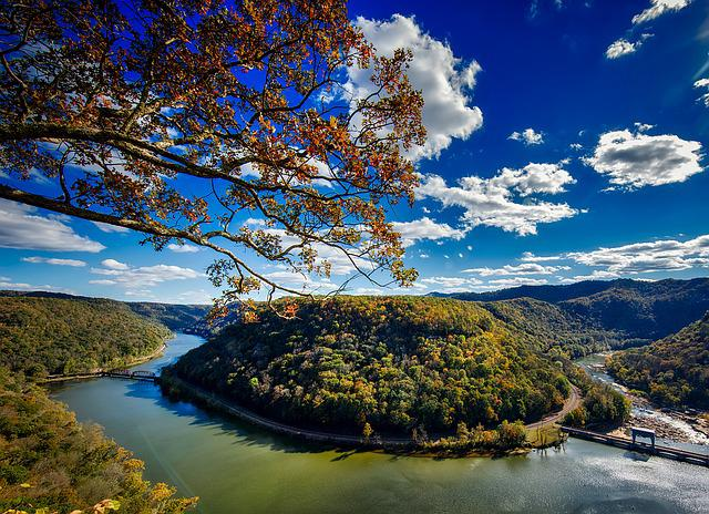 West Virginia, Horseshoe Bend, River, New River, Fall