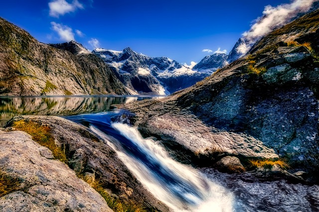 New Zealand, Landscape, Mountains, River, Water, Falls