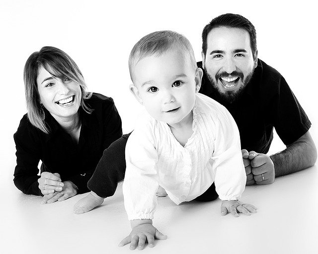 Family, Bebe, Crawling, Mother, Smiling, Happy