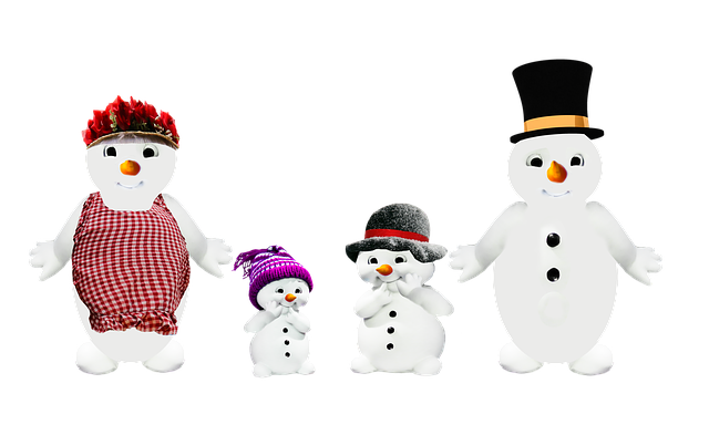 Snow Man, Family, Parents, Children, Winter, Png
