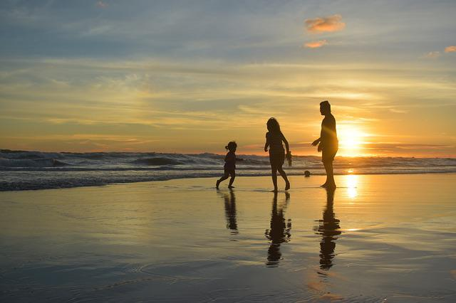 Silhouette, Sunset, Dusk, Beach, Family, Happiness