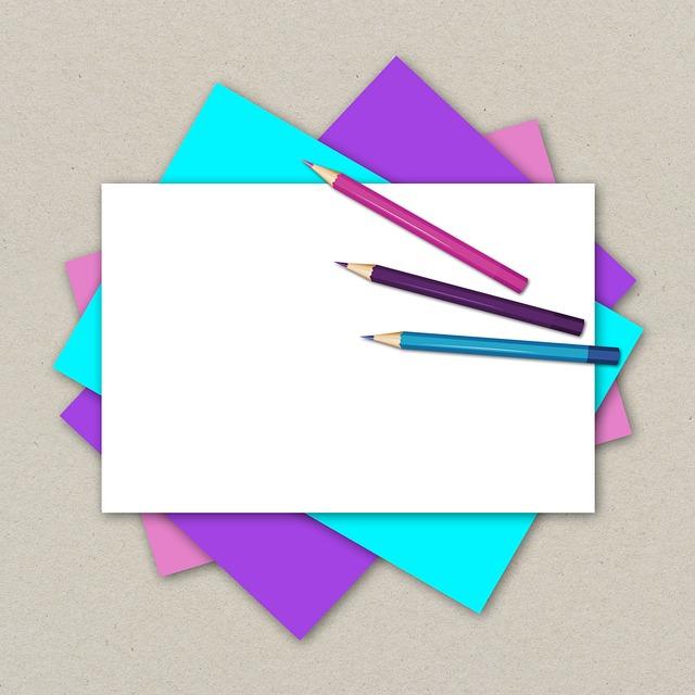 Paper, Fanned Out, Pens, Colored Pencils, Pink, Violet