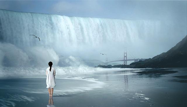Waterfall, Wave, Fantastic, Woman, Nature, Water