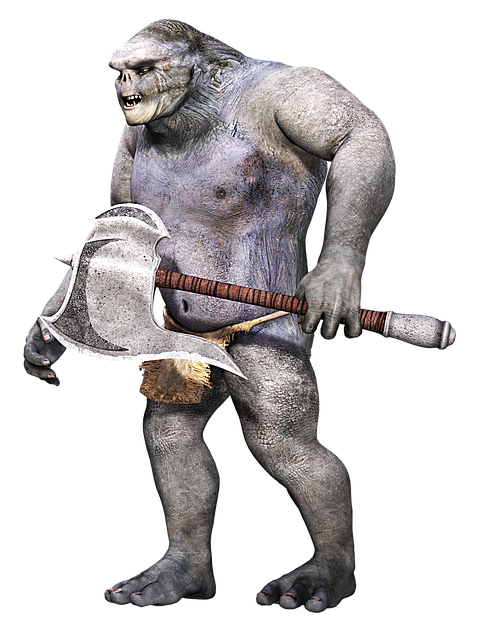 Creature, Primitive, Fantasy, Weapon, Troll, 3d, Png
