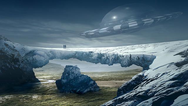 Fantasy, Landscape, Ufo, Glacier, Mystical, Atmosphere