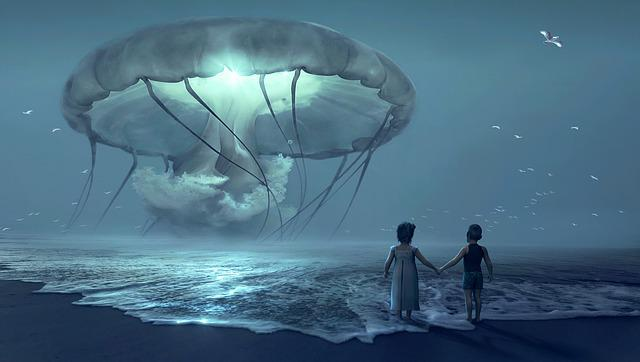 Fantasy, Beach, Children, Jellyfish, Night, Fairy Tales