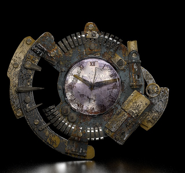 Steampunk, Clock, Grunge, Fantasy, Gear, 3d, Bronze