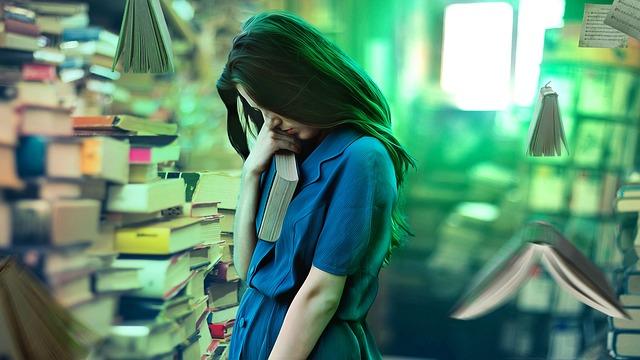 Girl, Afraid, Library, Magical, Fantasy, Weird, Flying