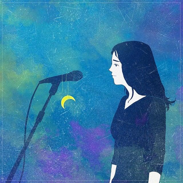 Fantasy, Microphone, Singer, Moon, Music, Girl, Woman