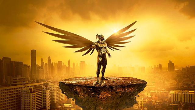 Fantasy, Angel, Golden, City, Light, Mood, Atmosphere