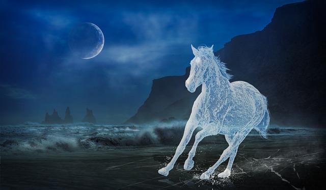 Horse, Ice, Frozen, Landscape, Dark, Fantasy