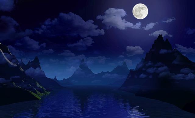 Free Photo Fantasy Landscape Night Moon Sky Dark Light