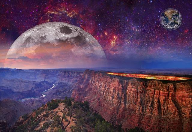 Fantasy, Landscape, Volcano, Lava, Sky, Galaxy, Space