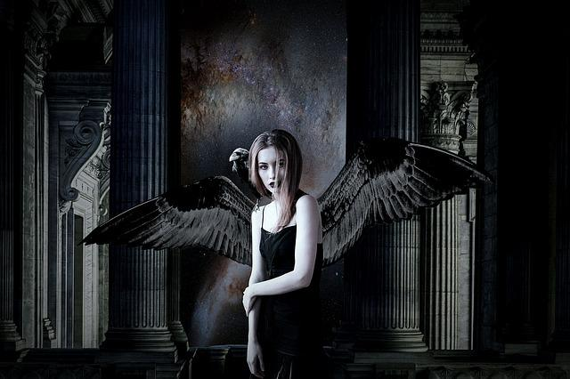 Angel, Dark, Fantasy, Black, Mystery, Girl, Gothic