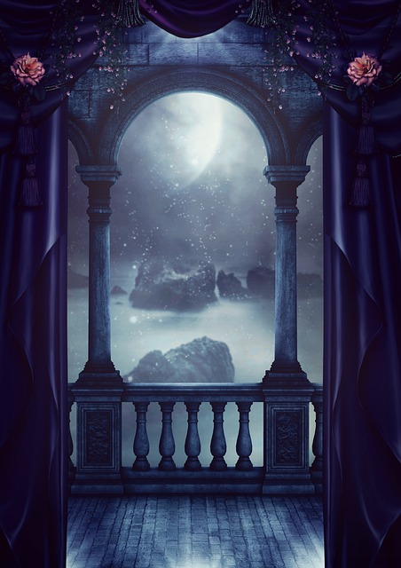 Fantasy, Balcony, Curtain, Moon, Sea, Rock, Fog
