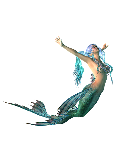 Mermaid, Png, Transparent Background, Fantasy, Blue