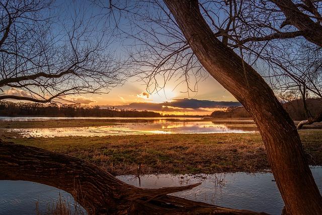 Elbe, High Water, Sunset, Farbenspiel, Mirroring, Mood
