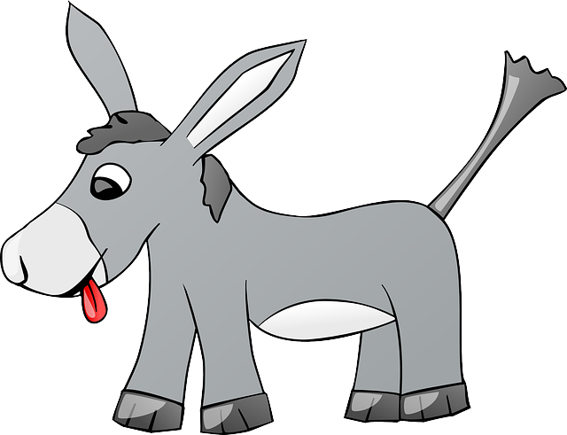 Donkey, Animal, Farm, Gray, Comic, Tongue, Cartoon
