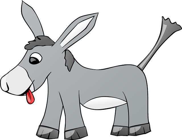 Donkey, Animal, Farm, Gray, Comic, Tongue, Cartoon