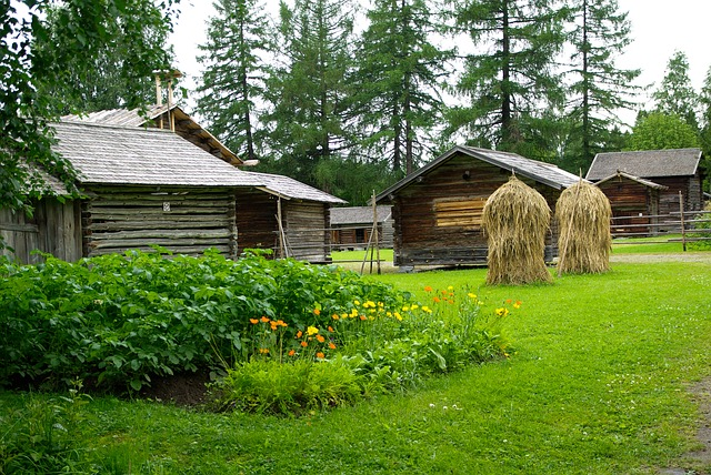 Finland, Farm, Vegetable Garden, Haystacks