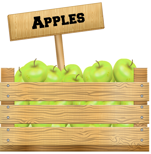 Crate Of Fruit, Apples, Wooden Box, Farmer's Market