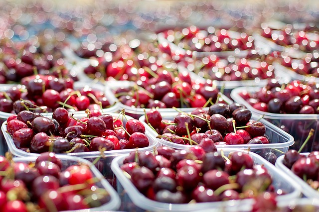 Cherries, Tubs Of Cherries, Farmer's Market, Fruit, Red