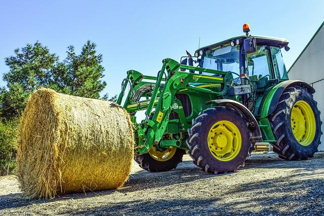 Tractor, Hay, Bale, Farming, Agriculture, Farm, Country