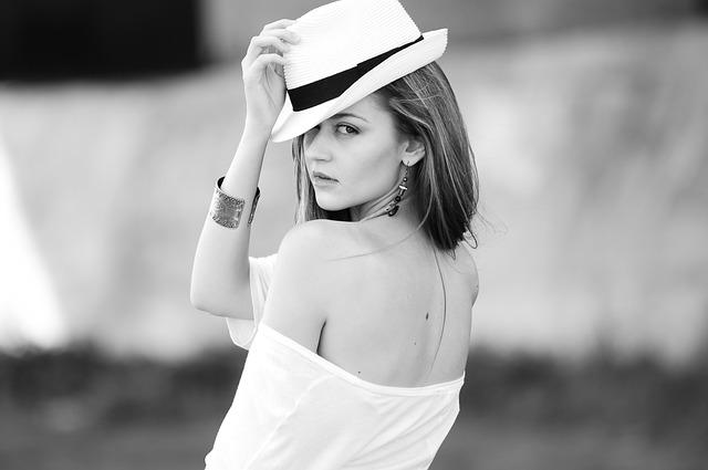 Woman, Model, Portrait, Fashion, Back, Hat, Accessories