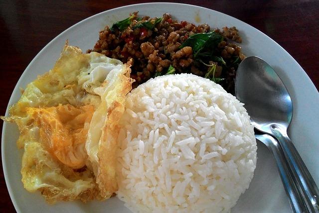 Thailand Food, Rice Basil Pork, Fast Food