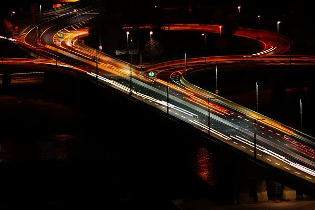 Highway, Night, Lighthouse, Car, Fast