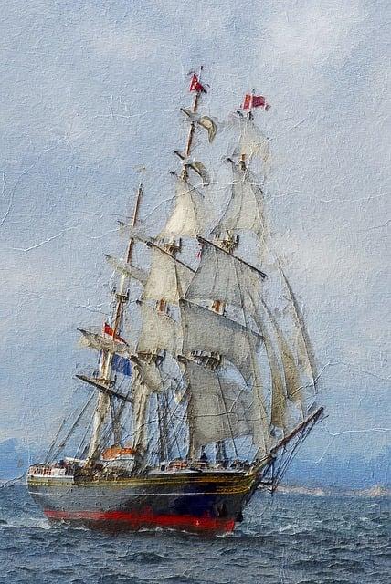 Clipper Ship, Three Masted, Sails, Stad Amsterdam, Fast