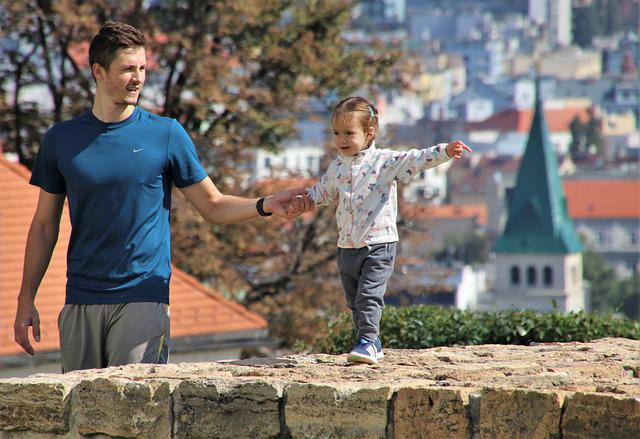 Father, Little Girl, Love, Lake Dusia, Admirable, City