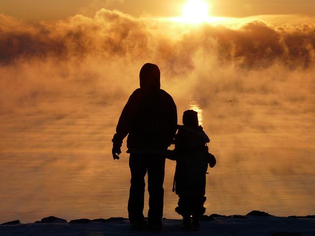 Father, Son, Sunrise, Silhouette, Fog, Mist, Lake