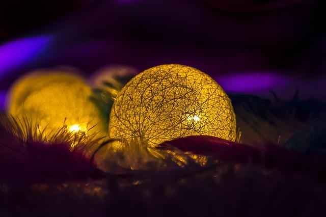 Balls, Feather, Color, Lights, Dark