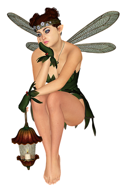 Fee, Elf, Lantern, Wing, Fairy, Fae, Lamp, Woman