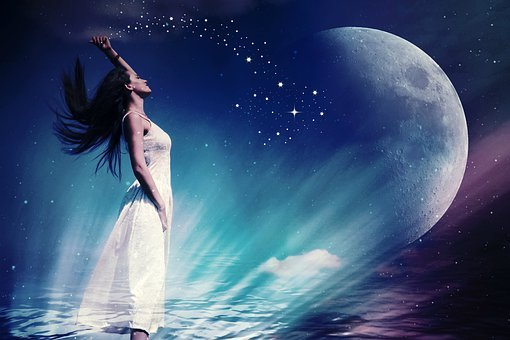 Woman, Fee, Moon, Star, Astronomy, Planet, Zodiac Sign