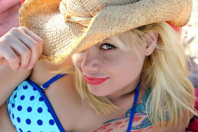 Woman, Blonde, Hat, Bikini, Model, Female, Girl